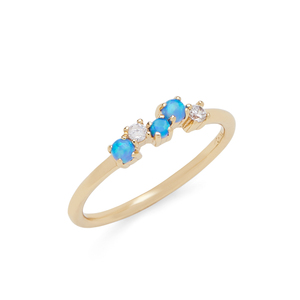 Rudiment Nopa Ring in Gold and Blue Opal
