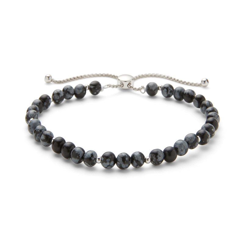 Aster Fleur Bracelet in Snowflake Obsidian