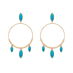 Gorjana Palisades Drop Hoops in Gold and Turquoise