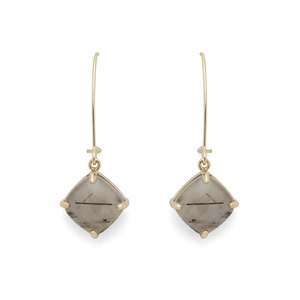 Ava Rose Berkeley Earrings in Gold and Rutilated Quartz