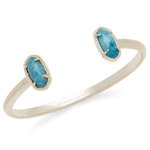Kendra Scott Elton Pinch Bracelet in Gold and Aqua Apatite